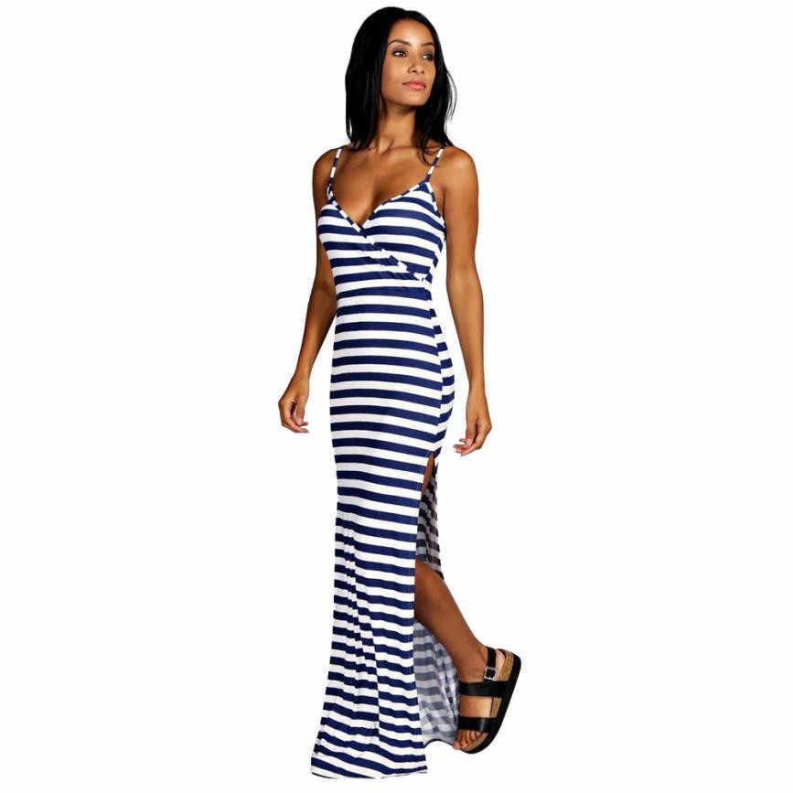 803efbc2b5 Stripe Strappy V Neck Beach Long Maxi Dress Women Off Shoulder High Split  Sundress Backless Casual