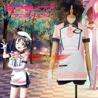 Love Live!Unawakened Ice Cream Yazawa Nico Cosplay Costume Adult Custom Women Shorts Clothing Maid Short Sleeve Dress with Hat