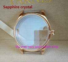 Cristal de safira parnis 44 MM caixa do relógio de aço inoxidável 316L chapeamento de ouro Rosa fit 6497/6498 movimento Do Vento Mão Mecânica 07