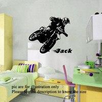 Motor Bike Race Personal Name Vinyl Wall Decals Wall Art Boy Sports Wall Stickers Kids Room