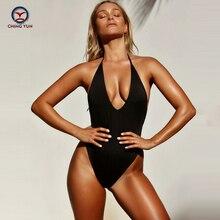CHINGYUN Bandeau Swimear 2019 New One Piece Suits Sexy Bodysuit Swimsuit  deep V design Bathing Suit Solid Suits1824