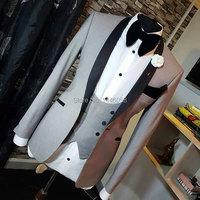 Men Wedding Suits 2018 Slim Fit Real Groomsmen Light Grey Shawl Lapel Groom Suit Mens Tuxedo Blazer Wedding/Prom Suits 3 Pieces