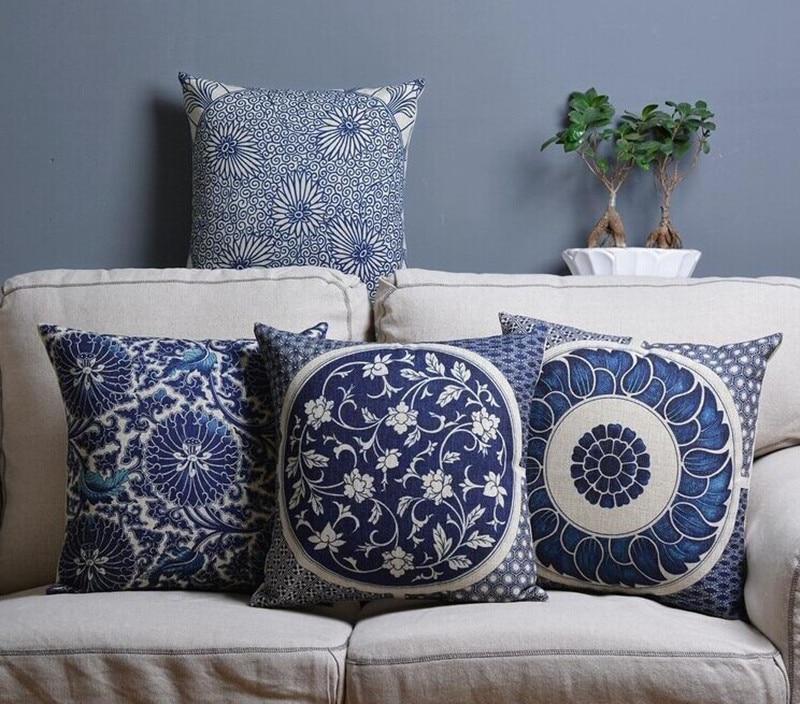Vintage Geometric Printed Sofa Throw Pillow Car Chair Home Decor Pillow Case Blue And White Porcelain Decorative Cushion Cover