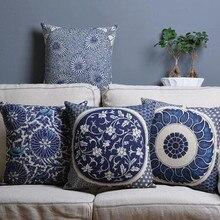 Funda de cojín de sofá con estampado geométrico Vintage, funda de cojín de decoración para hogar, funda de cojín decorativa de porcelana azul y blanca