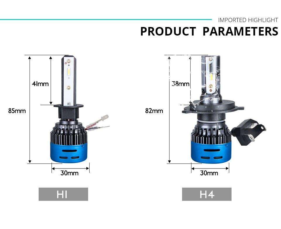 LED H7 H4 LED Car Headlight bulb 3000K 4300K 6500K 8000K H1 H11 H8 9005 9006 HB3 12V COB 5000LM 1860 10000LM 50W Fanless fan (12)