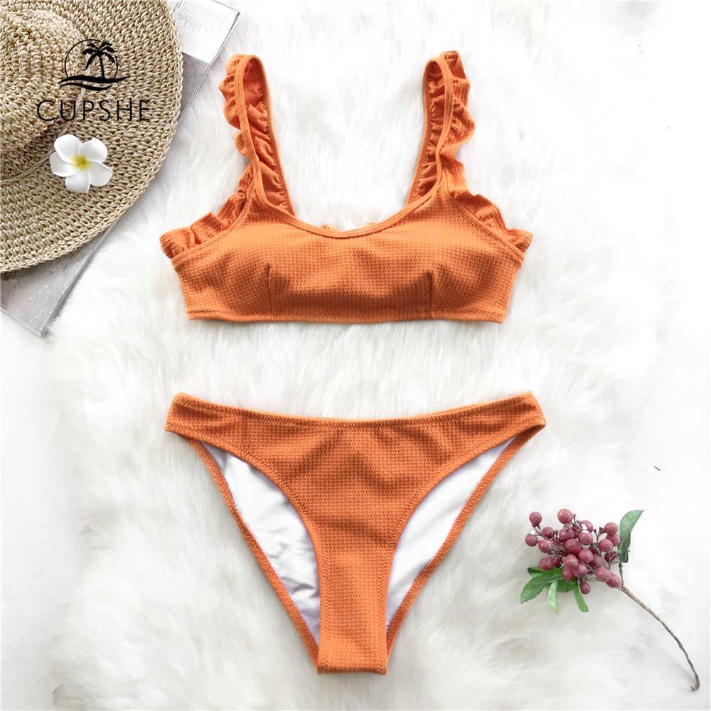 81637a31011b CUPSHE Active Orange Ruffles Thong Bikini Sets Women Solid Tied Bow Crop  Tank Two Pieces Swimwear