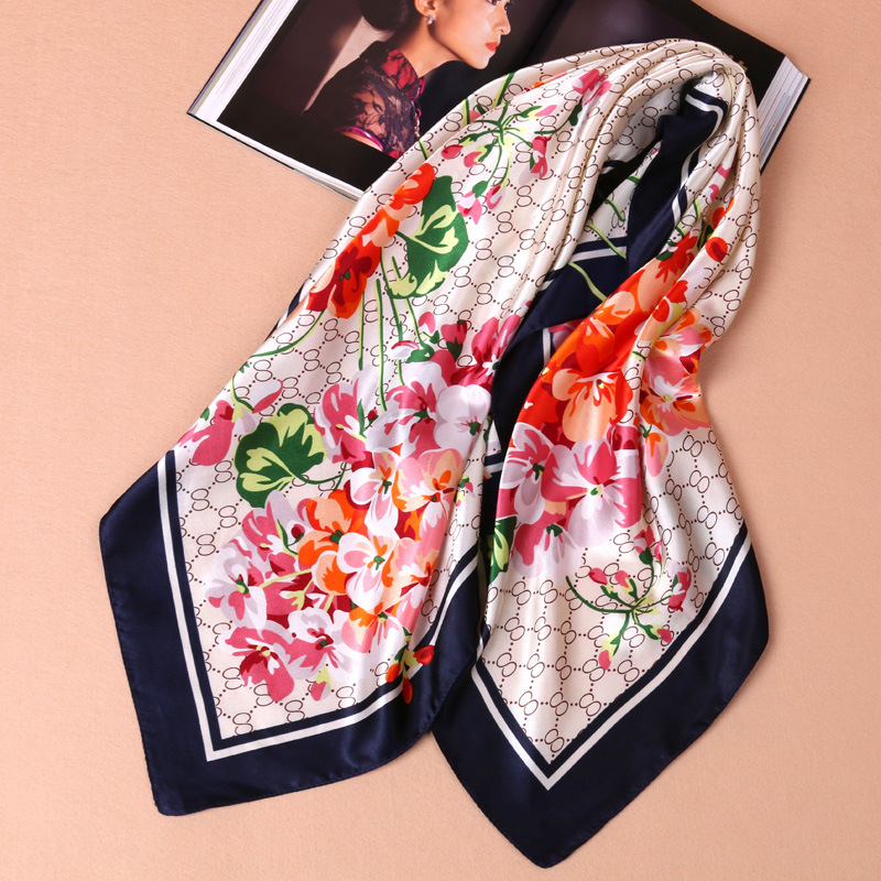 Winter and autumn women's   scarves     wrap   shawl thick warm   scarf   simulation silk satin 90 large square   scarf   ladies printed   scarves