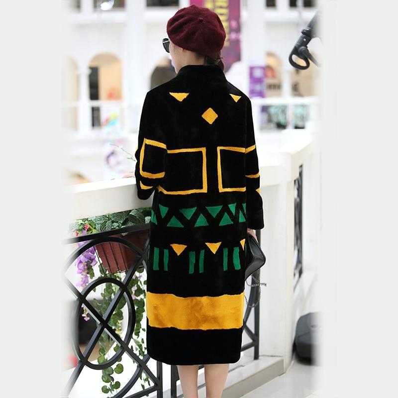 Nerazzurri Kunstpelzmantel Frauen 2019 Winter Kontrastfarbe Elegant - Damenbekleidung - Foto 2