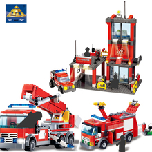 KAZI Fire Station Truck Car Building Blocks Model city Educational Toys DIY Brick  For Childrens Gifts