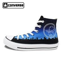 Унисекс Converse All Star ручной росписью обувь дизайн Полиция Box Galaxy Blue Sky высокие холщовые кроссовки для мужчин и женщин подарки