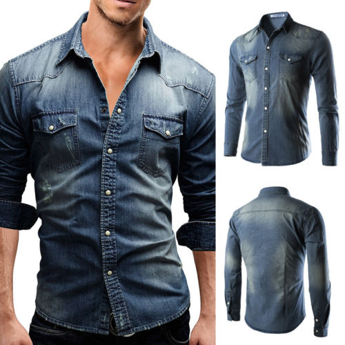 US Men's Traditional Denim Shirt With Flap Pocket And Snap Button From M-XXXL