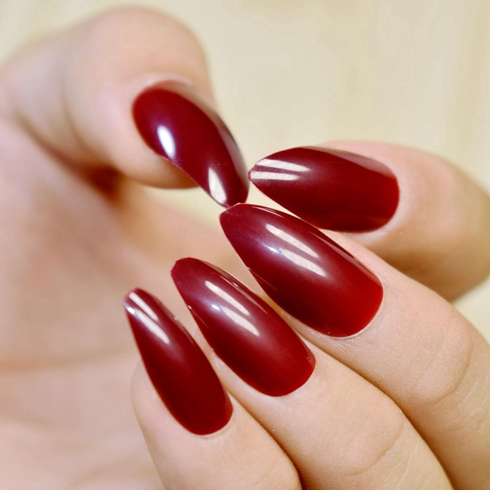 24pcs/set Stiletto Pointed Acrylic Fake Nails Dark Red Wine Medium ...