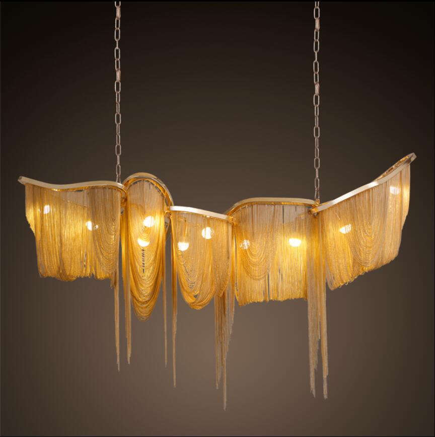 Ny lyxig stor tassel pendellampa LED guld / silver anpassningsbar - Inomhusbelysning - Foto 2