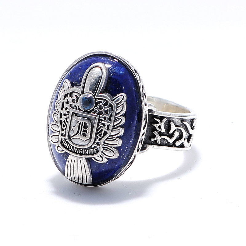 100% Pure 925 Sterling Silver Jewelry The Vampire Rings Lapis lazuli Vintage Men Signet Ring For Women Fine Gift 0009 the vampire diaries vampire knight crown ring jewelry gift men s ring gift jewelry 925 sterling silver ring