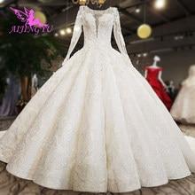 AIJINGYU Hochzeit Kleid engagement Kleider Taiwan Langarm Braut Geschäfte Einfache Weiß Neueste Indische Kleid Bräute & Kleider