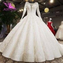 AIJINGYU חתונת שמלת אירוסין שמלות טייוואן ארוך שרוול כלה חנויות פשוט לבן החדש הודי שמלת כלות & שמלות