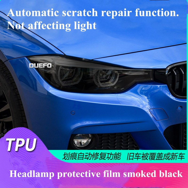 NEW 1set Car Smoked black TPU Transparent Head Lights Film Sticker Cover Protective For <font><b>BMW</b></font> <font><b>GT</b></font> 2 <font><b>3</b></font> 4 5 6 7 <font><b>Series</b></font> X1 X3 X4 X5 X6 image