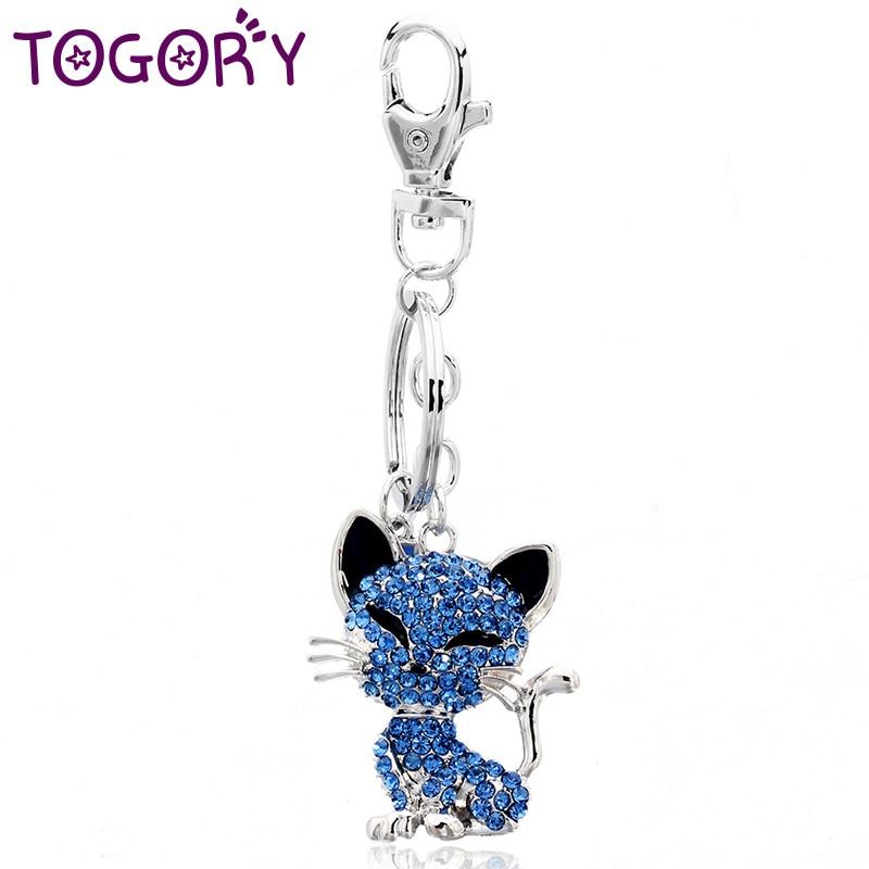TOGORY Smile Cat Opals Crystal Enamel HandBag Keyrings Keychains For Car Purse Bag Buckle Key Chains Holder For Women