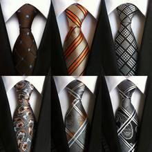 Free Shipping Geometric Brown Blue White 100% Silk Tie New Jacquard Woven Classi