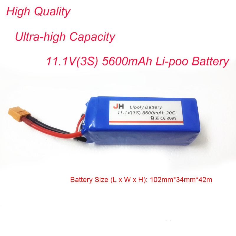 Nouvelle batterie Lipo 3 S Ultra-haute capacité 11.1 V 3 S 20C 5600 mAh Lipo pour accessoires quadrirotor RC QR X350 Cheesron CX20