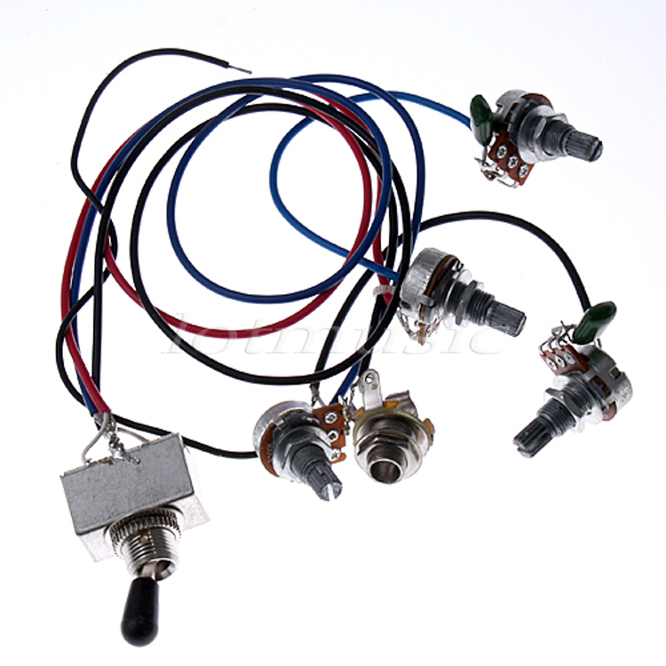 цена 10* Wiring Harness Toggle Pickup Selector 3WBT 2V 2T 1J 500K Pots For Electric Guitar Replacement