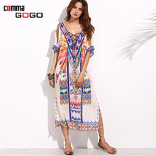 Women Casual Ethnic Print Long Dress Maxi Loose Hollow Out V-neck Slit Backless Dresses Summer Sexy Big Size Female Clothing