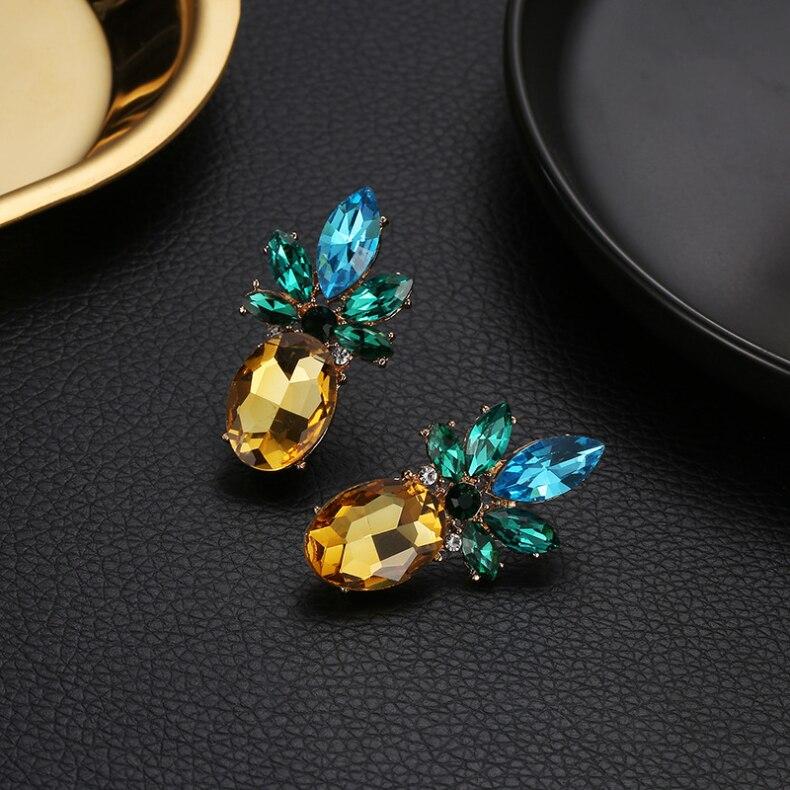 Новые творческие трендовые украшения со стразами и кристаллами сережки в виде ананасов персонализированные серьги с фруктами
