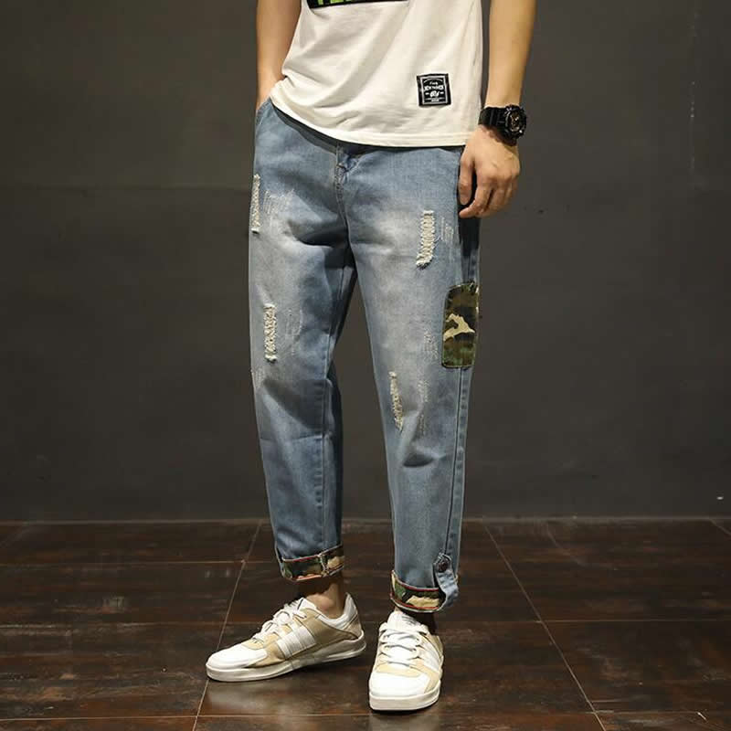 Men Casual Fit Ripped Distressed   Jeans   Harem Pants