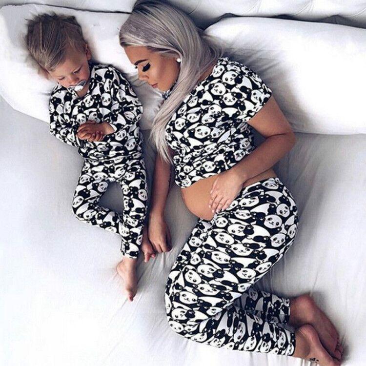 2019 Spring Family Matching Mother Daughter Son Baby Kid Clothes New Women Panda Print Pajamas Sleepwear Nightwear Pyjamas Suits