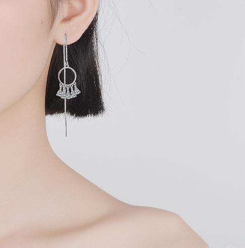New arrival 925 sterling silver fashion cz zircon women tassels earring jewelry ladies long drop earrings wholesale no fade girl in Drop Earrings from Jewelry Accessories