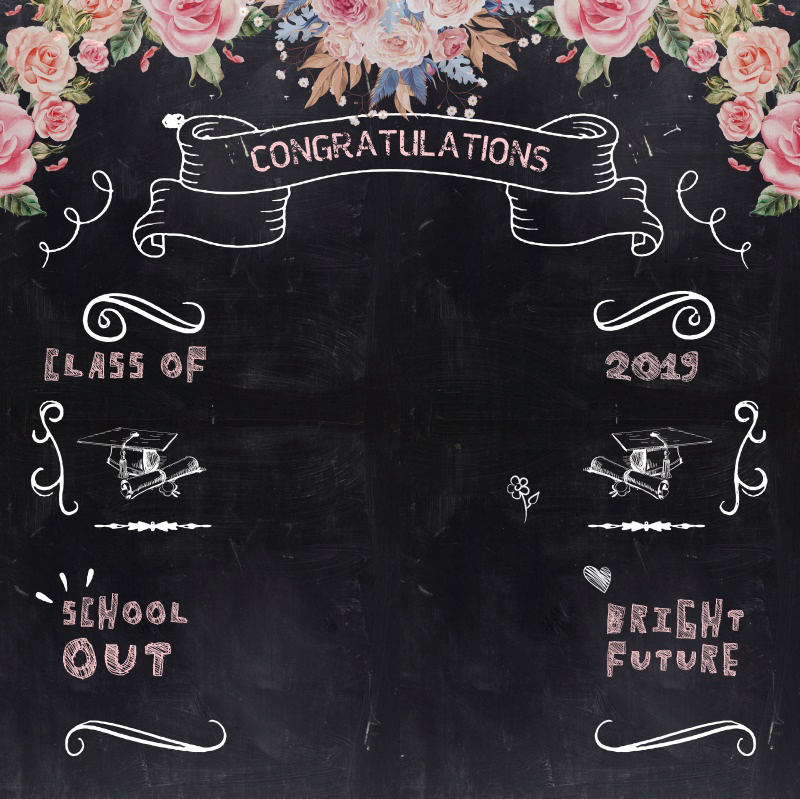 Laeacco Photography Background Blackboard Graduations Class Of 2019 Photocall Party Flowers Portrait Photo Backdrop Photo Studio in Background from Consumer Electronics