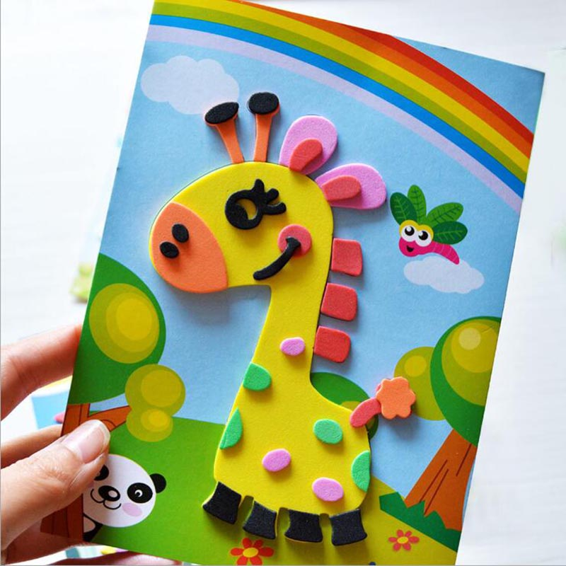 10 designs/lot DIY Cartoon 3D EVA Foam Sticker Puzzle Series Kids Multi-patterns Styles Toys for Children Birthday Gift 5