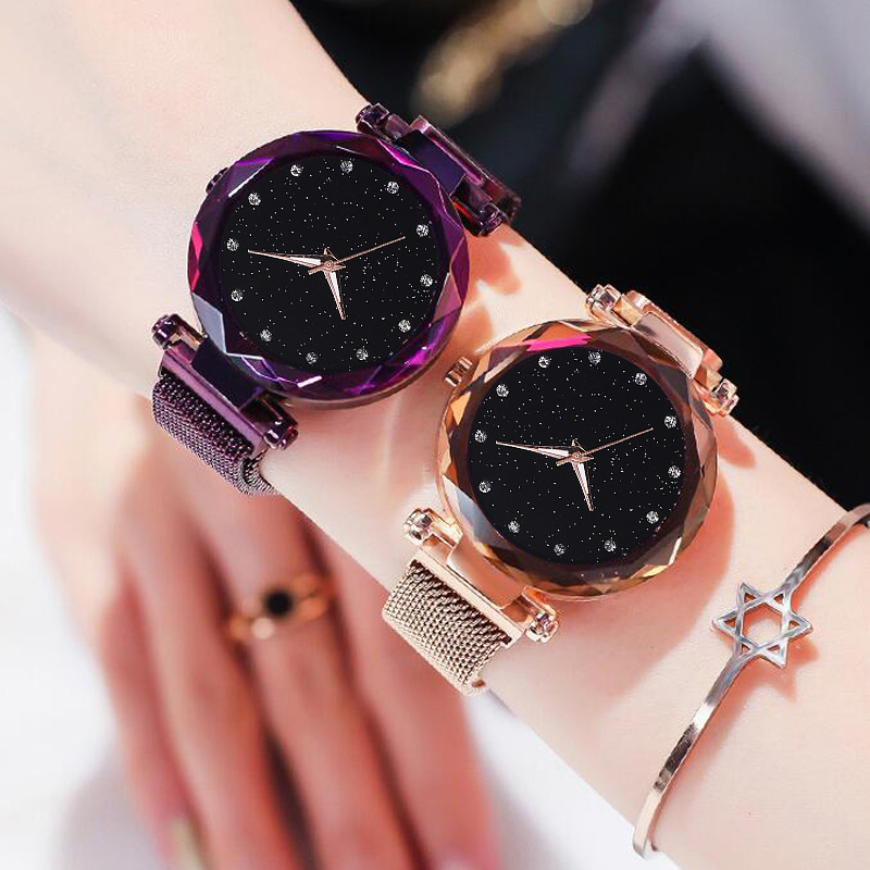 Top Brand Watches For Women Rose Gold Mesh Magnet Buckle Starry Quartz Watch Geometric Surface Casual Women Quartz Wristwatch 1