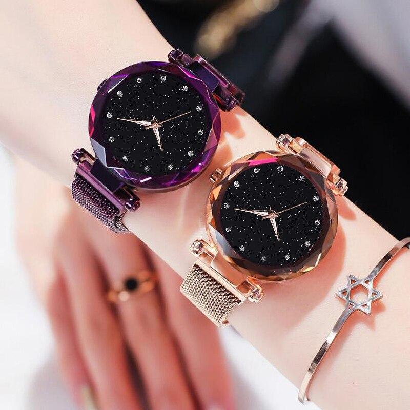 Top Brand Watches For Women Rose Gold Mesh Magnet Buckle Starry Quartz Watch Geometric Surface Casual Women Quartz Wristwatch 1