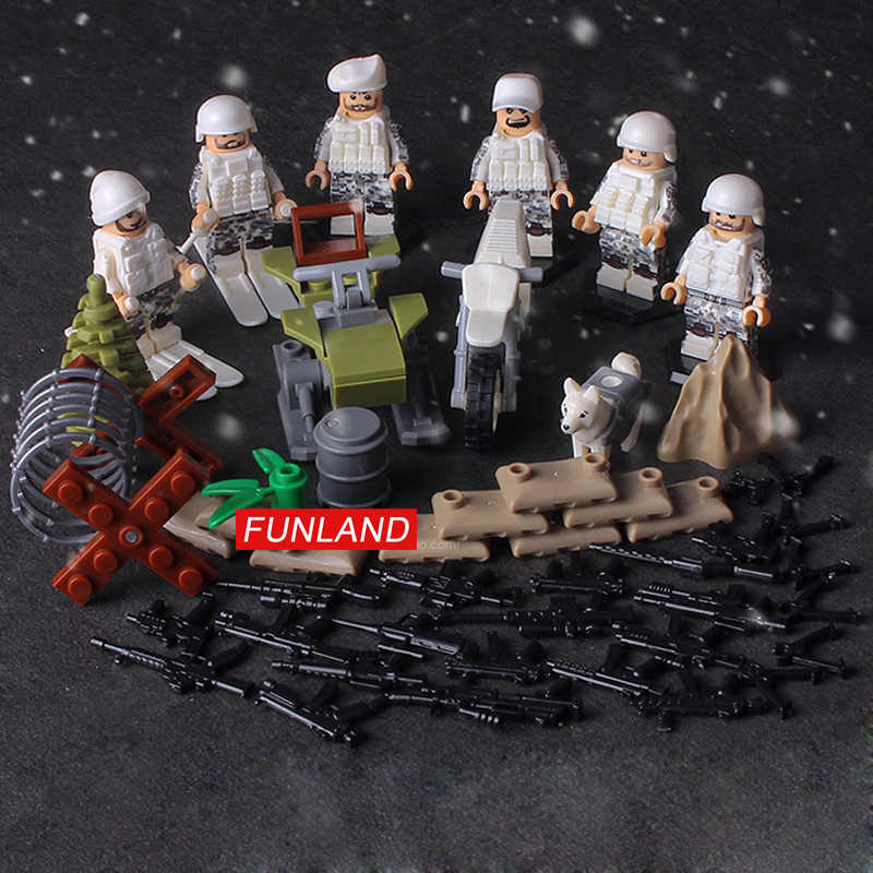 World war military brickmania Snowfield cavalry figures block WW2 Soviet Union army forces minifigs weapon motorcycle brick toys