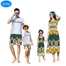 summer style family matching clothes father son shirt mother daughter dresses children t shirts boys shorts men t-shirt pants