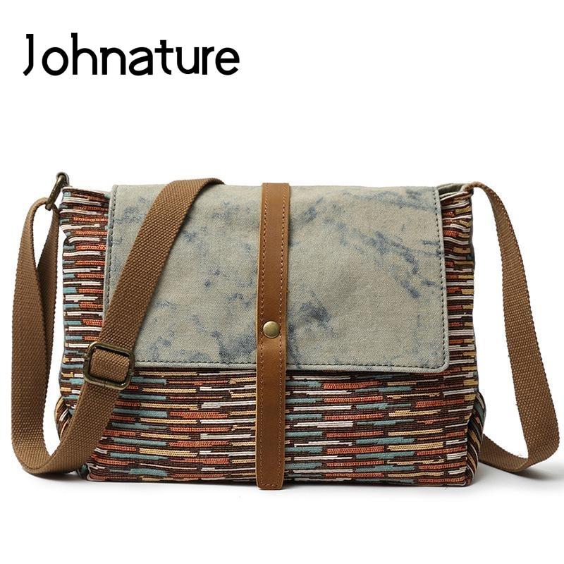 Johnature 2019 New National Men Messenger Bag Vintage Leisure Striped Zipper & Hasp Fashion Travel Shoulder & Crossbody Bags