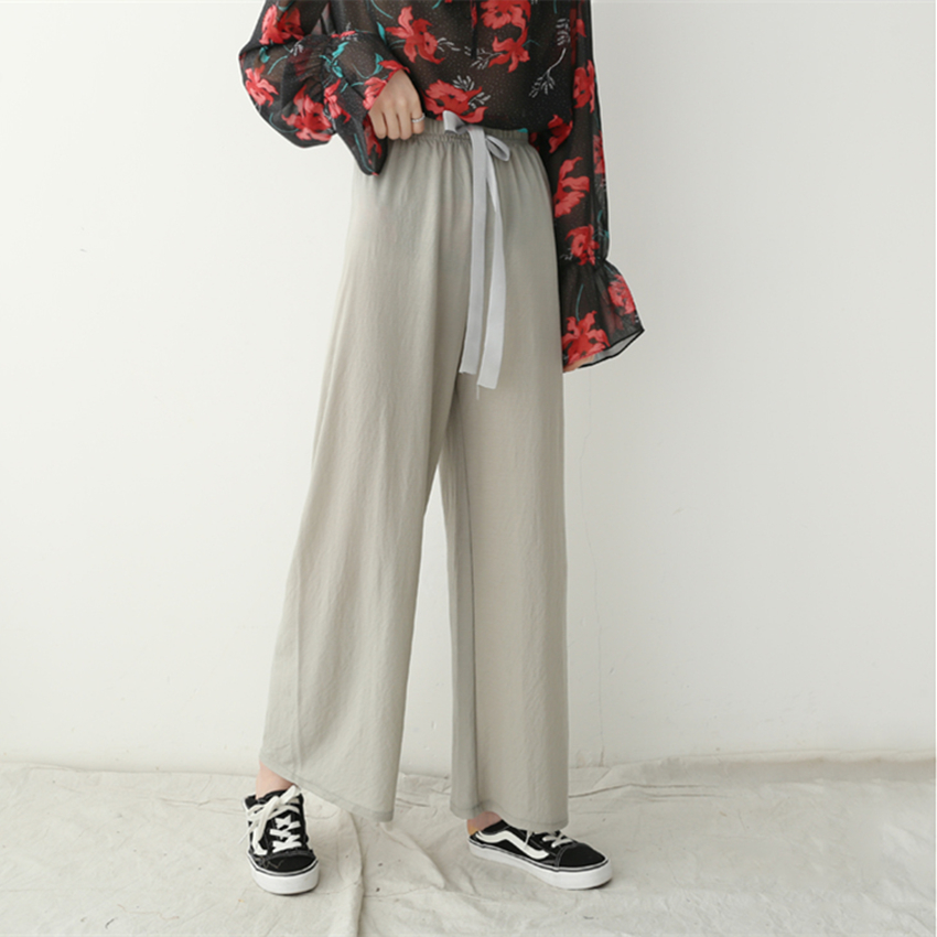 Spring Summer Women   Wide     Leg     Pants   Elastic Waist Solid Thin Cotton Casual Trousers Femme Loose Home   Pant