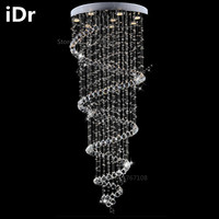 Europe crystal chandelier penthouse stairwell hanging wire crystal lamp villa spiral staircase Upscale atmosphere