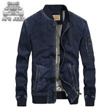 Winter Warm Men Jackets Plus Velvet Denim Jeans Jacket Stand Up Collar Casual Coats Brand Original AFS Jeep Clothing Size M-4XL