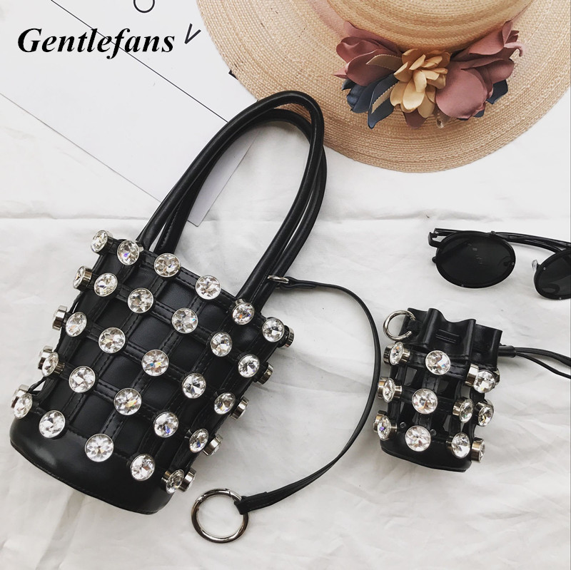 Rivets Bucket Bag Studded Purse Card Holder 3 pcs Luxury Design Hollow Out Handbags Rock Style