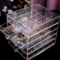 100 Grid Acrylic Makeup Organizer Storage Box Cosmetic Nail Display Stand