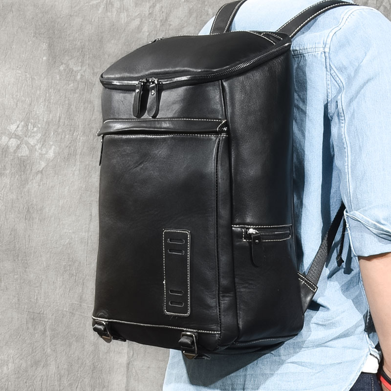 Brand waterproof travel bucket backpack men 100% Genuine leather backpacks for teenager Men Casual Daypacks mochila male Bagpack цена 2017