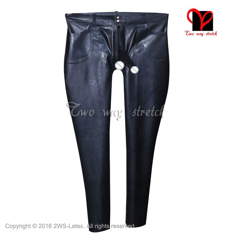 Черный латекс джинсы резиновая Штаны с карманами пениса Оболочка военные брюки передняя молния летать пуговицы плавки Большие размеры KZ 119