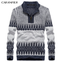CARANFIER Winter Men Knitted Pullover Male Zipper Cotton Casual Sweater Turtleneck O Neck Slim Fit Men