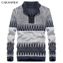 CARANFIER Winter Men Knitted Pullover Male Zipper Cotton Casual Sweater Turtleneck O-Neck Slim Fit Men Leisure Christmas Style