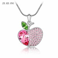 ZK KH ONG Fashion Apple Modeling Necklace Christmas Jewelry Luxury Crystal Zircon Composition Apple Pendant Necklace