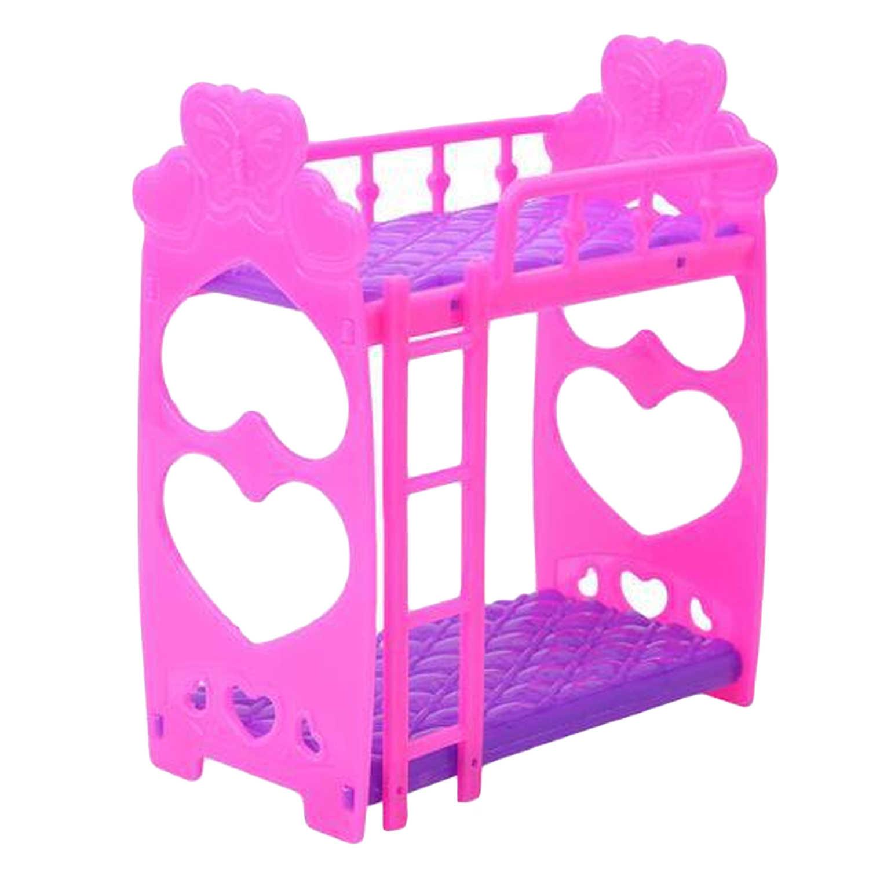 Мини пластиковая двухъярусная кровать Кукольный дом двойной сон кровать спальня двухслойная кровать мебель аксессуары для Барби кукольный домик