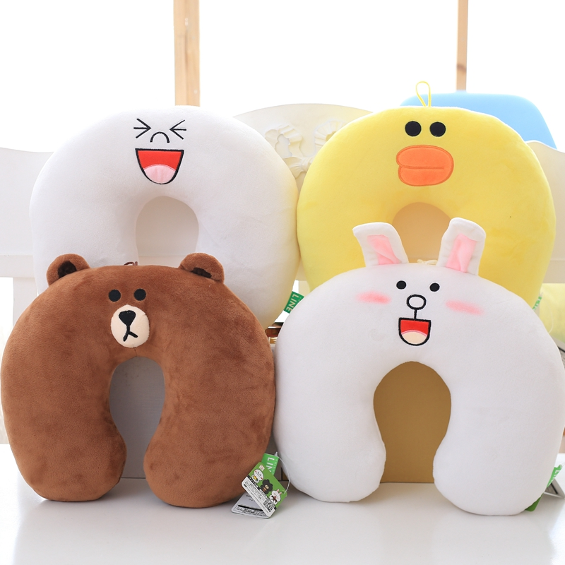 30x30 cm Soft Adorable Korean Line Town Dino Brown Bear Plush Toy U Shape Pillow Stuffed Cartoon Cushion Toy For Fans