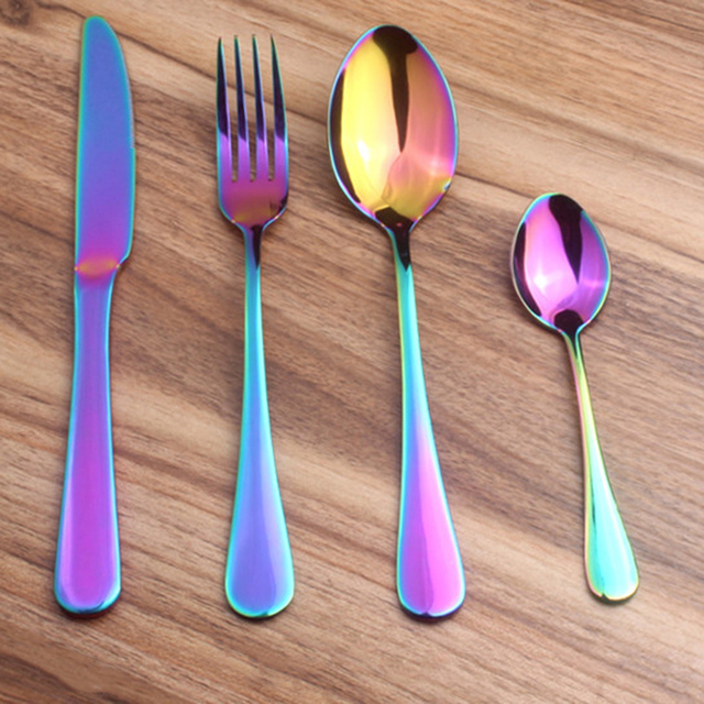 4 Pcs Stainless Steel Colorful Cutlery Set Rainbow Gold Plated Dinnerware Creative Dinner Set Fork Knife & 4 Pcs Stainless Steel Colorful Cutlery Set Rainbow Gold Plated ...